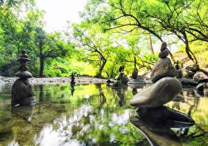 Fondos de Pantalla Primavera Parque Piedras Estanque Esculturas