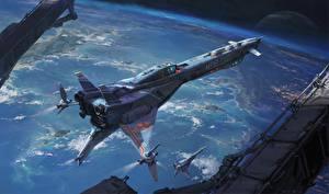 Bakgrundsbilder på skrivbordet Interstellär rymdfarkost Fartyg Pengzhen Zhang