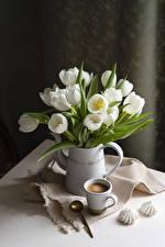 Fondos de escritorio Bodegón Tulipa Café Zefir Jarrón Taza Blanco Cuchara flor