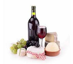 Wallpapers Still-life Wine Cheese Grapes White background Bottle Stemware Food