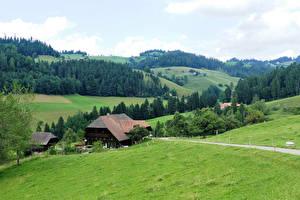 Hintergrundbilder Schweiz Wälder Haus Grünland Hügel Emmental Natur