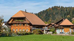 Photo Switzerland Building Grass Fence Emmental Cities