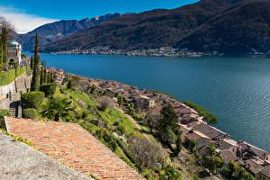 Bilder Schweiz See Gebäude Dach Morcote Lake Lugano