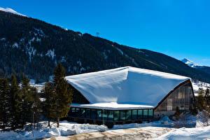 Hintergrundbilder Schweiz Winter Gebäude Gebirge Schnee Davos Städte