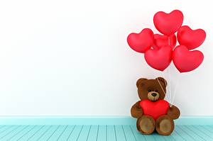 Wallpaper Teddy bear Valentine's Day Heart Toy balloon 3D Graphics