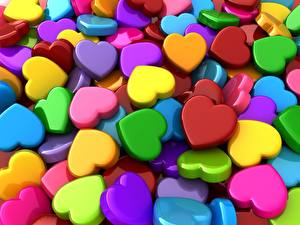 Wallpapers Texture Heart Multicolor 3D Graphics