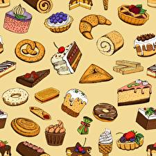 Picture Texture Pastry Sweets Torte Kulich Pieces