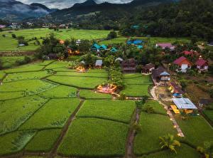 Bureaubladachtergronden Thailand Gebouw Akkerland Posjolok Mae La Noi een stad