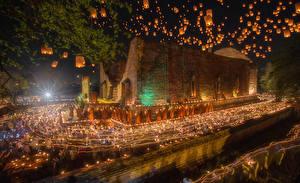 Hintergrundbilder Thailand Tempel Abend Kerzen Nacht Ayutthaya Städte