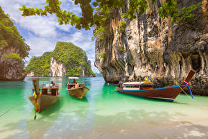 Fotos Thailand Tropen Boot Bucht Felsen Krabi