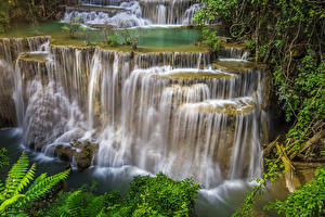Sfondi desktop Thailandia Tropici Parco Cascata Falesia Natura