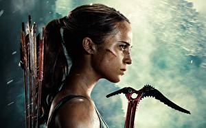 Image Tomb Raider 2018 Alicia Vikander Side Head Wooden arrow Girls Celebrities