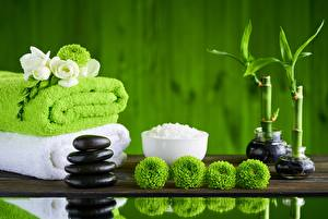 Image Towel Bambusoideae Stones Spa Salt