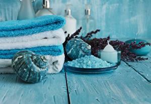 Image Towel Shells Spa Salt Wood planks
