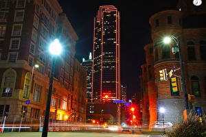 Images USA Houses Street Night Street lights Dallas Cities
