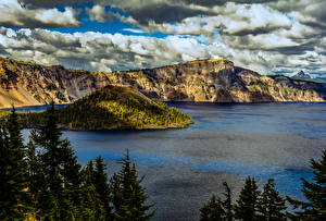 Wallpapers USA Park Mountains Lake Spruce Crater Lake National Park Oregon Nature