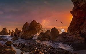壁纸、、アメリカ合衆国、朝焼けと日没、海岸、カリフォルニア州、岩、水飛沫、Corona Del Mar、自然