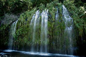 壁纸、、アメリカ合衆国、滝、カリフォルニア州、岩石、蘚類、Mossbrae falls、自然