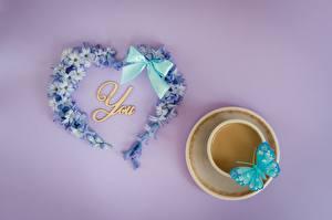 Fotos Valentinstag Schmetterlinge Herz Schleife Tasse