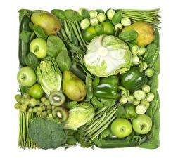 Hintergrundbilder Gemüse Obst Kohl Äpfel Birnen Kiwifrucht Trauben Paprika Grün das Essen