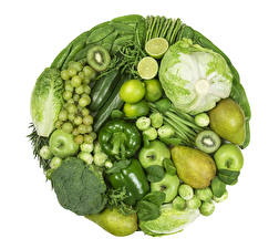 Wallpaper Vegetables Fruit Bell pepper Pears Cabbage Grapes Apples Kiwi Broccoli White background Food