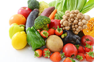 Pictures Vegetables Fruit Strawberry Lemons Bell pepper Mushrooms Tomatoes White background Food