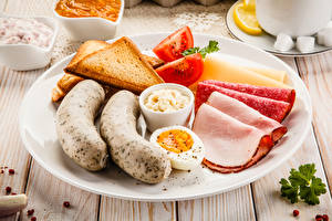 Pictures Vienna sausage Bread Sausage Plate Sliced food Eggs Breakfast Food