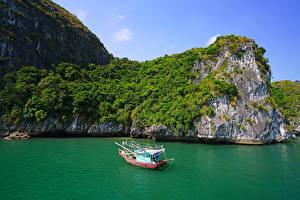 Hintergrundbilder Vietnam Schiffe Motorboot Bucht Felsen Lan Ha Bay Natur