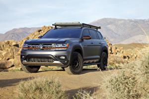 Bureaubladachtergronden Volkswagen Grijs SUV 2019 Atlas Basecamp Concept auto's