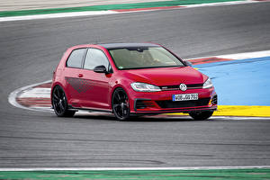 Bakgrundsbilder på skrivbordet Volkswagen Röd 2019 Golf GTI TCR 3-door Worldwide bil
