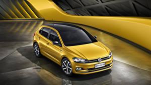 Hintergrundbilder Volkswagen Gelb 2019 Polo Plus auto