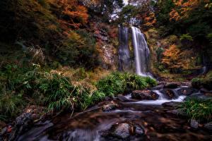 Wallpapers Waterfalls Stones Autumn Cliff Nature