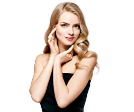 Hintergrundbilder Weißer hintergrund Blondine Hand Starren Mädchens
