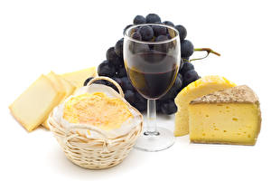 Pictures Wine Grapes Cheese White background Stemware Food
