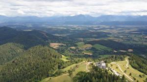 Fotos Österreich Wälder Gebäude Hügel Von oben Magdalensberg