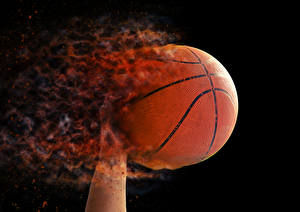 Wallpapers Basketball Fire Black background Ball Sport