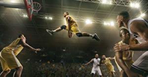 Bilder Basketball Mann Sprung Ball Bein Sport