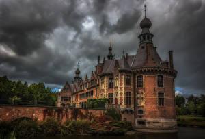 壁纸、、ベルギー、城、池、橋、ハイダイナミックレンジ合成、Ooidonk Castle、