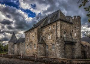 Pictures Belgium Castles Fence HDRI Raeren Cities