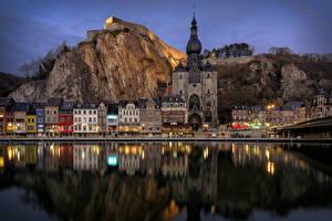 Fotos Belgien Gebäude Tempel Flusse Abend Felsen Dinant Städte