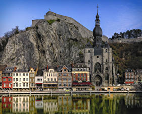 Image Belgium Rivers Building Temples Church Cliff Dinant Cities