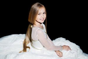 Images Black background Little girls Smile Glance Brown haired Children
