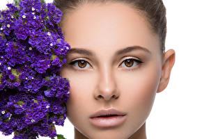 Bilder Blumensträuße Weißer hintergrund Gesicht Starren junge Frauen