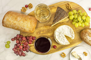 Image Bread Cheese Wine Grapes Nuts Cutting board Stemware Food