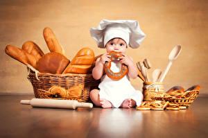 Images Bread Baking Newborn Cook Hat Wicker basket Sitting child