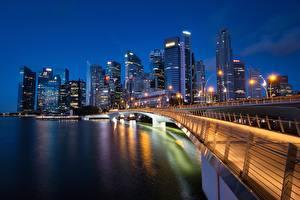 Fotos Brücke Singapur Wolkenkratzer Haus Bucht Marina Bay Jubilee Bridge Städte