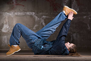 Pictures Brown haired Dance Jeans Hands