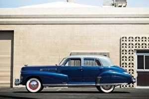 Hintergrundbilder Cadillac Retro Seitlich Blau 1941 Fleetwood Sixty Special Sedan auto