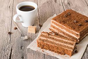 Photo Cakes Coffee Wood planks Piece Cup Grain Sugar Spoon