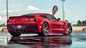 Wallpaper Chevrolet Red Back view Corvette C7 Cars